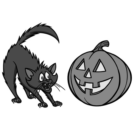 Halloween Cat Illustration - A vector cartoon illustration of a Halloween Cat and Pumpkin.