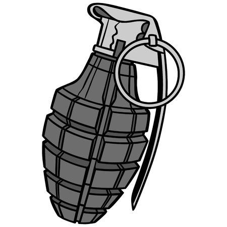 Handgranaat Illustratie - Een vector cartoon illustratie van een militaire handgranaat.