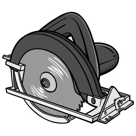 Hand Held Circular Saw Illustration - A vector cartoon illustration of a Hand Held Circular Saw.