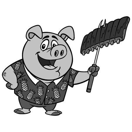 Hawaiian BBQ Illustration - A vector cartoon illustration of a Hawaiian BBQ Pig mascot.