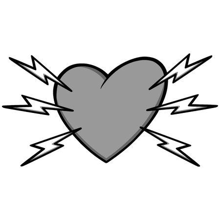 Heart Attack Illustration - A vector cartoon illustration of a Heart Attack concept. Иллюстрация