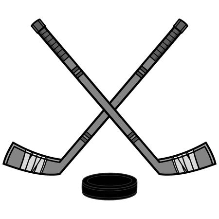 Hockey Sticks and Puck Illustration - A vector cartoon illustration of a couple of Hockey Sticks and a Puck. Ilustracja
