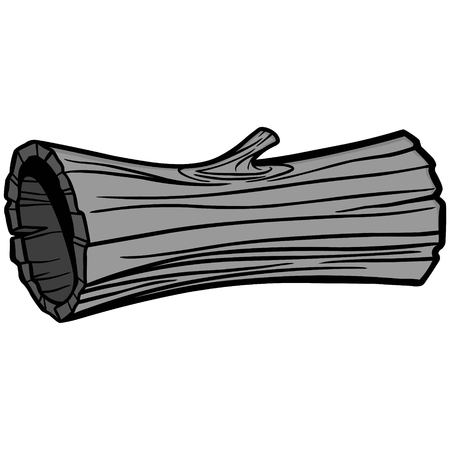 Hollow Log Illustration - A vector cartoon illustration of a Hollow Log from a forest.