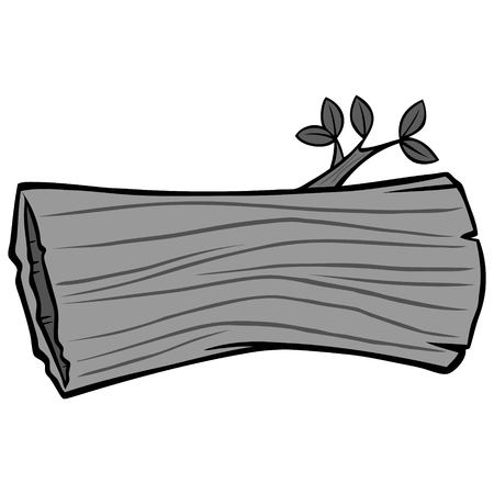 Hollow Tree Trunk Illustration - A vector cartoon illustration of a Hollow Log from a forest.