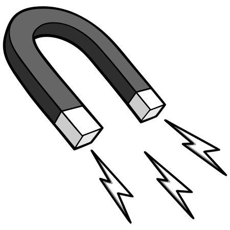 Horseshoe magnet illustration, vector cartoon illustration of a horseshoe magnet. Çizim