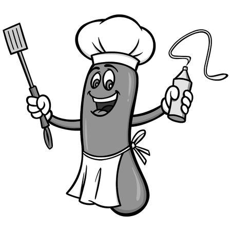 Hot dog cookout illustration, vector cartoon illustration of a hot dog cookout mascot. 向量圖像
