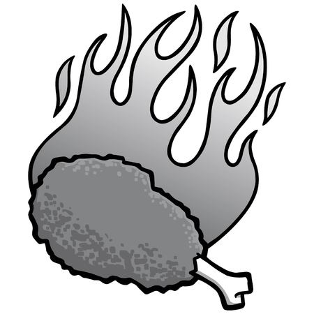 Hot Wing Illustration - A vector cartoon illustration of a flaming Hot Wing. Illusztráció