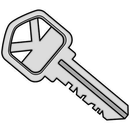 House Key Illustration  A vector cartoon illustration of a House Key Icon. Stock Illustratie