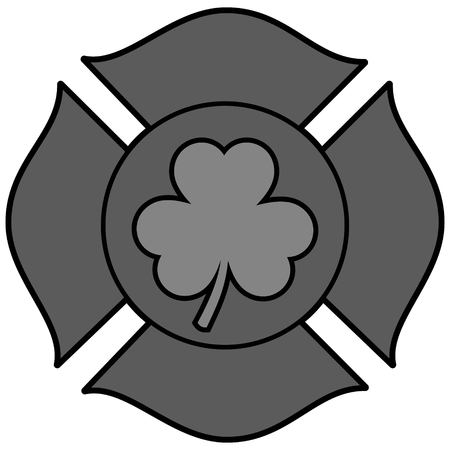 Irish Firefighter Maltese Cross Illustration - A vector cartoon illustration of a Irish Firefighter Maltese Cross.