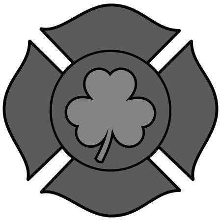 Irish Firefighter Maltese Cross Illustration - A vector cartoon illustration of a Irish Firefighter Maltese Cross.