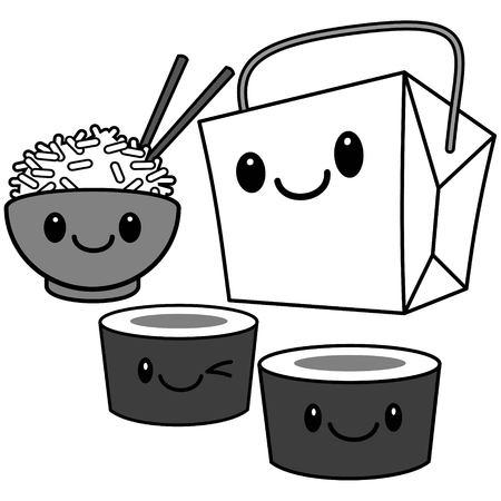 A vector cartoon illustration of some cute Kawaii Chinese Food. Illustration