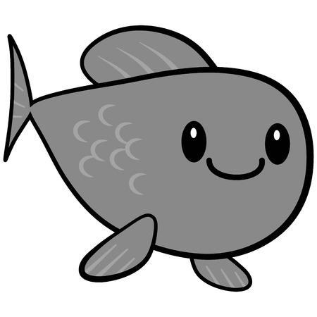 Kawaii Goldfish Illustration - A vector cartoon illustration of a cute Kawaii Goldfish.