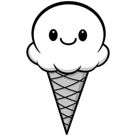 Kawaii Ice Cream Illustration - A vector cartoon illustration of a cute Kawaii Ice Cream.