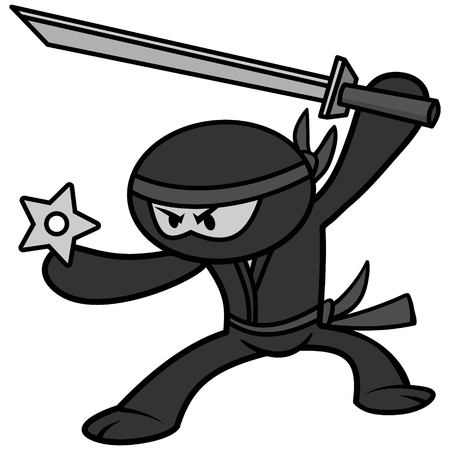 A vector cartoon illustration of a cute Ninja. Illustration