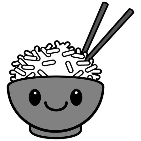 A vector cartoon illustration of a cute character of Rice Bowl.