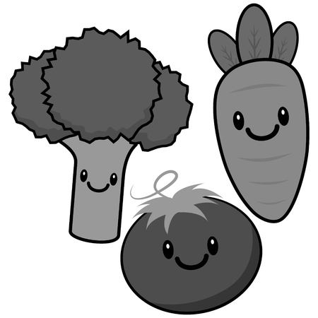 Set of Kawaii vegetables illustration  with facial expression in monochrome design.