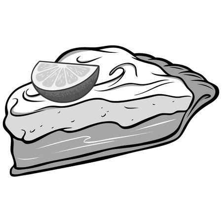 Key lime pie illustration vector cartoon illustration of a key lime pie.
