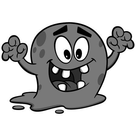 Germ illustration, vector cartoon illustration of a spooky killer germ.