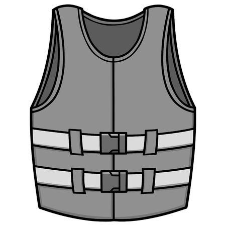 Rettungsweste Illustration - eine Vektor-Cartoon-Illustration einer Schwimmweste Vektorgrafik