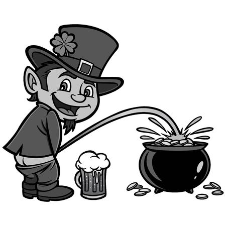 Lucky Leprechaun Illustration - A vector cartoon illustration of a Leprechaun having some fun.