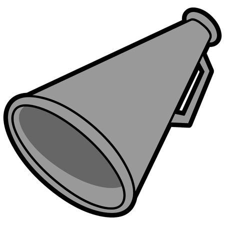 Megafoonillustratie - Een vectorbeeldverhaalillustratie van een cheerleadermegafoon. Stockfoto - 96427289