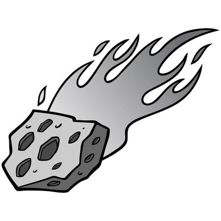 Meteor Illustration - A vector cartoon illustration of a blazing Meteor.