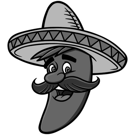 Mexican Chili Pepper Illustration - A vector cartoon illustration of a Mexican Chili Pepper mascot.