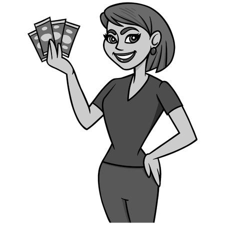Money Saving Mom Illustration - A vector cartoon illustration of a Money Saving Mom concept.