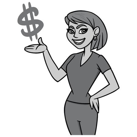 Money Smart Mom Illustration - A vector cartoon illustration of a Money Smart Mom concept.
