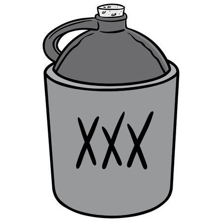 Moonshine Illustration - A vector cartoon illustration of a jug of Moonshine. Illustration
