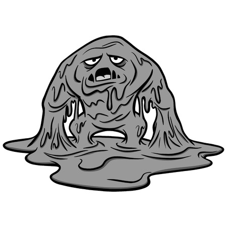 Mucus Monster Illustration - A vector cartoon illustration of a Mucus Monster concept.