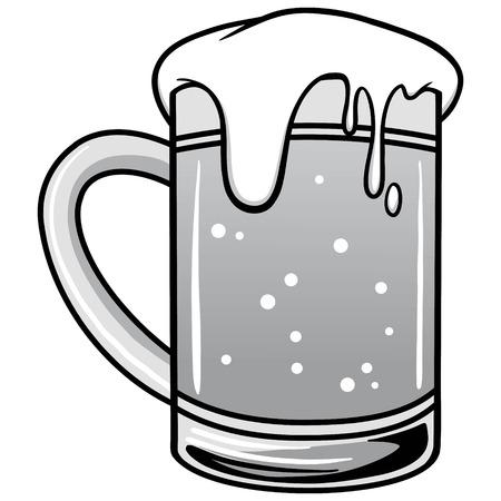 Mug of Beer Illustration - A vector cartoon illustration of a Mug of Beer. Stock Illustratie