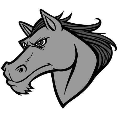 Mustang Head Illustration - A vector cartoon illustration of a Mustang Head.