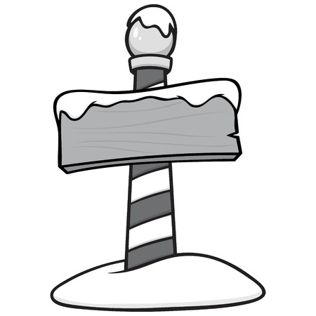 North Pole Sign Post Illustration - A vector cartoon illustration of a North Pole Sign Post concept.