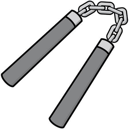 Nunchaku Illustration  vector cartoon illustration of a pair of Nunchaku.