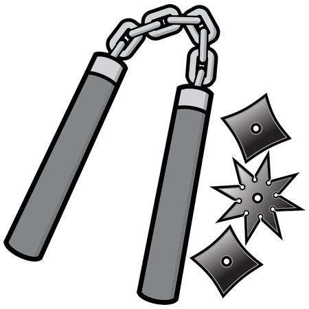 Nunchaku and Throwing Stars Illustration Vectores