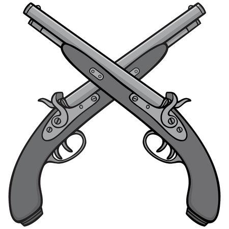 Oude antieke geweren illustratie Stockfoto - 96550223