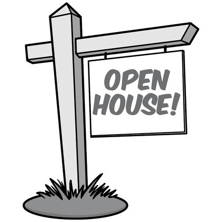 Open House Illustration  vector cartoon illustration of a Open House sign. Ilustração