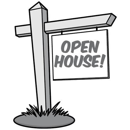Open House Illustration  vector cartoon illustration of a Open House sign. Illustration