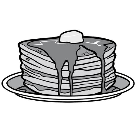 Pancake Party Illustration - A vector cartoon illustration of a Pancake Party concept. Banco de Imagens - 96480516