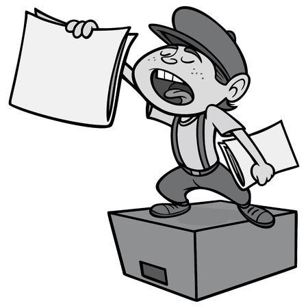 Paper boy vector cartoon illustration Illustration