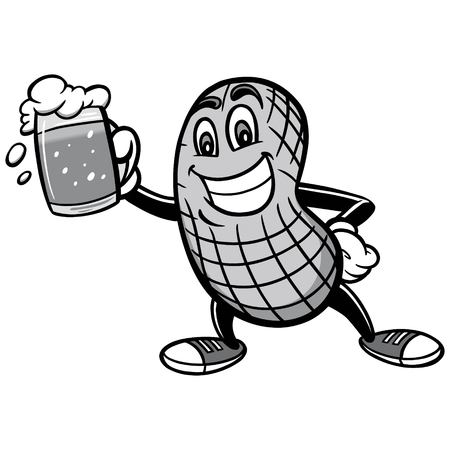 Peanut and beer cartoon illustration Stock Illustratie