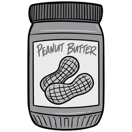 Peanut Butter Illustration, A vector cartoon illustration of a jar of Peanut Butter.