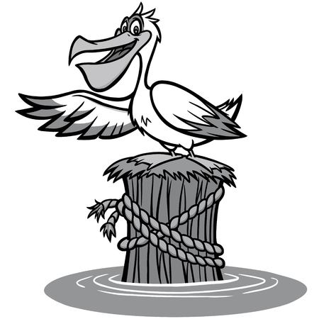 Pelican Illustration, A vector cartoon illustration of a Pelican pointing.