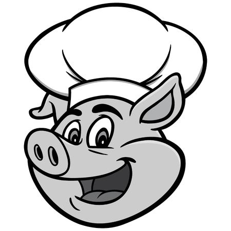 Pig with Chef Hat Illustration - A vector cartoon illustration of a Pig with a Chef Hat. Foto de archivo - 96890581