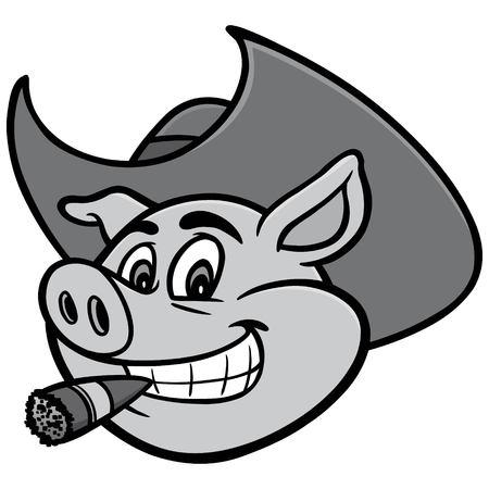 Pig with Cigar Illustration - A vector cartoon illustration of a Pig with Cigar.