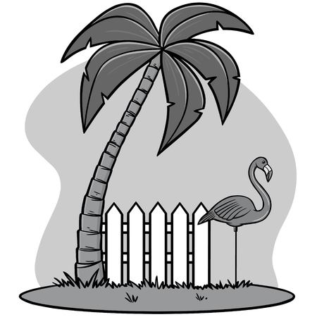 Plastic Flamingo with Palm Illustration - A vector cartoon illustration of a Plastic Flamingo with a Palm tree.