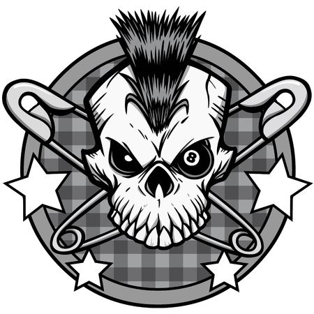 Punk Skull Illustration - A vector cartoon illustration of a Punk Skull icon concept.