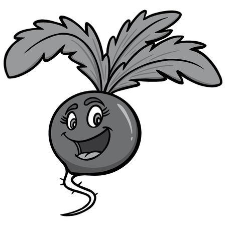 Radish Cartoon Illustration - A vector cartoon illustration of a Radish Cartoon mascot.