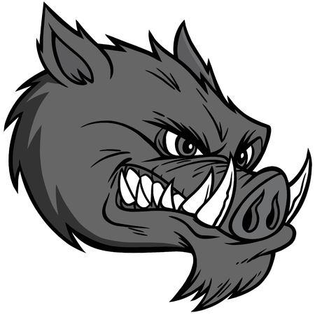 Razorback mascot extreme illustration - a vector cartoon illustration of a razorback mascot.  イラスト・ベクター素材